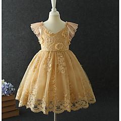 tanie Odzież dla dziewczynek-Brzdąc Dla dziewczynek Słodkie Solidne kolory Bez rękawów Sukienka Rumiany róż