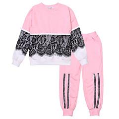 billige Tøjsæt til piger-Børn Pige Aktiv / Gade Ferie / I-byen-tøj Farveblok / Patchwork Trykt mønster / Lace Trim Langærmet Normal Bomuld Tøjsæt Sort 100