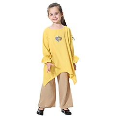 billige Tøjsæt til piger-Børn Pige Boheme Daglig Ensfarvet Pailletter Langærmet Lang Polyester Tøjsæt Lyserød