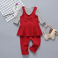 billige Sett med babyklær-Baby Pige Ensfarvet / Stribet Langærmet Tøjsæt