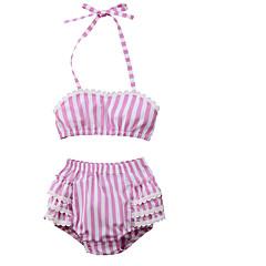 billige Badetøj til piger-Børn Pige Basale Daglig / Sport Stribet Blondér Uden ærmer Bomuld / Polyester Badetøj Lyserød