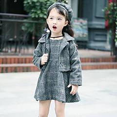 billige Tøjsæt til piger-Børn Pige Aktiv / Gade Daglig / I-byen-tøj Ternet Langærmet Kort Rayon / Polyester Tøjsæt Grå