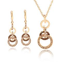 baratos Conjuntos de Bijuteria-Mulheres Retro Conjunto de jóias - Europeu, Fashion, Elegante Incluir Colar Brinco Dourado Para Festa Diário
