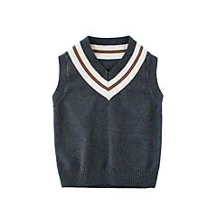 billige Sweaters og cardigans til drenge-Børn Drenge Basale Ferie / I-byen-tøj Sort og hvid Ensfarvet Pelskrave Uden ærmer Normal Bomuld Trøje og cardigan Sort