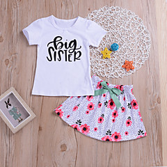 billige Tøjsæt til piger-Baby Pige Aktiv / Gade Daglig / Ferie Blomstret / Trykt mønster Trykt mønster Kortærmet Normal Normal Bomuld Tøjsæt Hvid