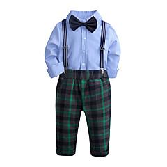 billige Tøjsæt til drenge-Børn / Baby Drenge Gade Skole / Fødselsdag Houndstooth mønster Langærmet Normal Normal Bomuld / Polyester Tøjsæt Blå 100