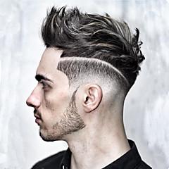 billiga Peruker och hårförlängning-Herr Äkta hår Tupéer Rak 100 % handbundet / Spetsfront Mjuk