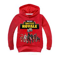 billige Hættetrøjer og sweatshirts til drenge-Børn Drenge Aktiv Trykt mønster Langærmet Bomuld Hættetrøje og sweatshirt