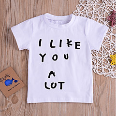 billige Babyoverdele-Baby Pige Basale Daglig / Sport Ensfarvet / Trykt mønster Kortærmet Normal Bomuld T-shirt Hvid
