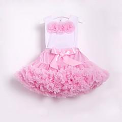 billige Tøjsæt til piger-Børn / Baby Pige Aktiv / Gade Skole / Strand Blomstret Sløjfer / Drapering / Net Uden ærmer Normal Bomuld / Nylon Tøjsæt Lyserød