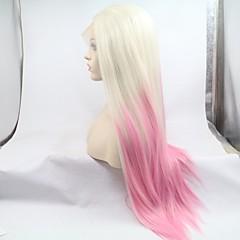 tanie Peruki syntetyczne-Syntetyczne koronkowe peruki Kinky Straight Fryzura cieniowana 130% Gęstość Włosie synetyczne 26 in Damskie Biały / Różowy Peruka Damskie Średniej długości Siateczka z przodu Różowy