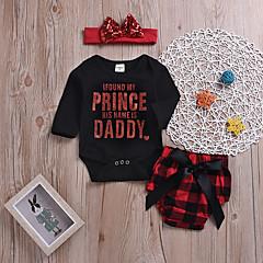 billige Babytøj-Baby Pige Trykt mønster / Ternet Langærmet Tøjsæt