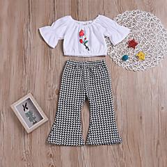 billige Sett med babyklær-Baby Pige Aktiv Fest / I-byen-tøj Blomstret / Ruder Trykt mønster 3/4-ærmer Kort Normal Bomuld / Spandex Tøjsæt Hvid