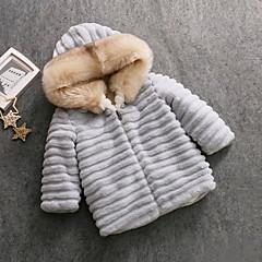 billige Jakker og frakker til piger-Børn Pige Rabbit Ensfarvet Langærmet dun- og bomuldsforet