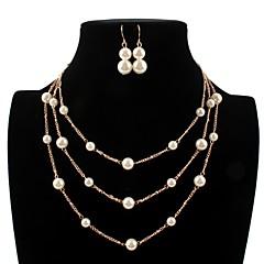 baratos Conjuntos de Bijuteria-Mulheres Camadas Conjunto de jóias - Imitação de Pérola Bola Estiloso, Simples Incluir Brincos Compridos Colar Dourado Para Diário