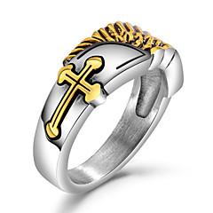 billige Motering-Herre Skulptur Band Ring Statement Ring Ring - Titanium Stål Englevinger Punk, Europeisk, Romantikk Gull / Sølv Til Gate Bar