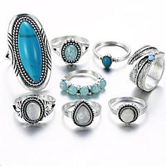 billige Motering-Dame Opal Vintage Stil Statement Ring Ring Set - Legering Blad Formet, Dråpe Statement, Vintage, Bohemsk Sølv Til Gave Aftenselskap / 8pcs