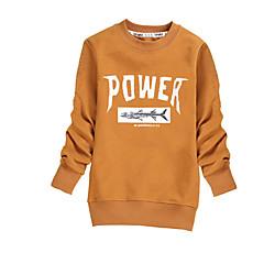 billige Hættetrøjer og sweatshirts til drenge-Børn Drenge Aktiv Trykt mønster Langærmet Bomuld Hættetrøje og sweatshirt Sort 140