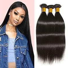 hesapli Postişler-3 Paket İri Dalgalı Peru Saçı Düz 8A Gerçek Saç İnsan saç örgüleri Uzatıcı Paketi Saç 8-28 inç Doğal Doğal Renk İnsan saç örgüleri Makine Yapımı İpeksi Düz En iyi kalite İnsan Saç Uzantıları Kadın's