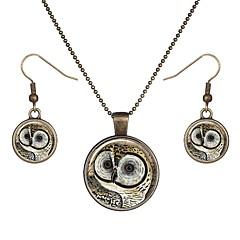 baratos Conjuntos de Bijuteria-Mulheres Estilo vintage Conjunto de jóias - Coruja Vintage Incluir Brincos em Argola Colar Dourado Para Diário