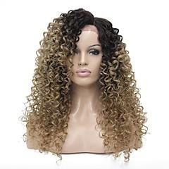 billiga Peruker och hårförlängning-Syntetiska snörning framifrån Kinky Curly Sidodel Syntetiskt hår 24 tum 100% kanekalon hår Ljusbrunt Peruk Dam Lång Halvnät utan lim Mörkbrun / Guldblondin
