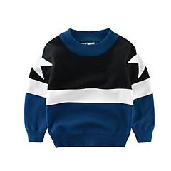 billige Sweaters og cardigans til drenge-Børn Drenge Aktiv Farveblok Langærmet Normal Polyester Trøje og cardigan Sort