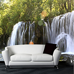 cheap -Wallpaper / Mural Canvas Wall Covering - Adhesive required Trees / Leaves / Lines / Waves / 3D