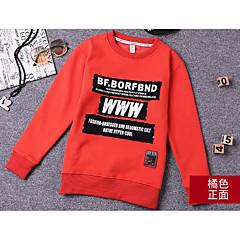 billige Hættetrøjer og sweatshirts til drenge-Børn Drenge Basale Daglig Ensfarvet Langærmet Normal Bomuld / Polyester Hættetrøje og sweatshirt Sort 130