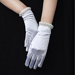 Χαμηλού Κόστους Γάντια για πάρτι-Ελαστικό Σατέν Μέχρι τον καρπό Γάντι Άκρη με χάντρες / Γάντια Με Ψεύτικο Μαργαριτάρι / Κρόσσι / Διακοσμητικά