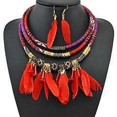 baratos Conjuntos de Bijuteria-Mulheres Entrançado Conjunto de jóias - Vintage Incluir Brincos Compridos Colar Preto / Vermelho / Azul Para Para Noite Festival