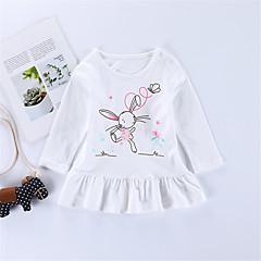 billige Pigetoppe-Børn / Baby Pige Aktiv / Basale Daglig / I-byen-tøj Trykt mønster Trykt mønster Langærmet Normal Bomuld T-shirt Hvid 100