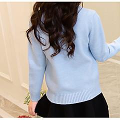 billige Sweaters og cardigans til piger-Børn Pige Basale Daglig Ensfarvet Langærmet Normal Bomuld / Polyester Trøje og cardigan Blå 140
