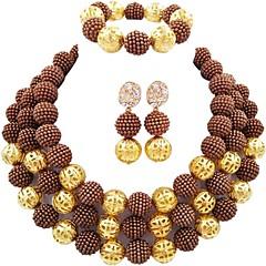 baratos Conjuntos de Bijuteria-Mulheres Camadas Conjunto de jóias - Fashion Incluir Strands Necklace Verde / Rosa claro / Rosa Para Presente Festival