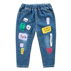 billige Drengebukser-Børn Drenge Aktiv Ensfarvet / Geometrisk Polyester Jeans Blå