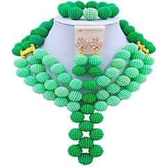 baratos Conjuntos de Bijuteria-Mulheres Camadas Conjunto de jóias - Fashion Incluir Strands Necklace Verde / Azul / Rosa Para Festival