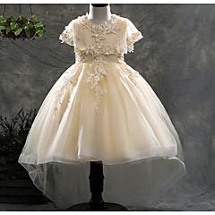 tanie Odzież dla dziewczynek-Dzieci Dla dziewczynek Aktywny Codzienny Solidne kolory Łuk Krótki rękaw Do kolan Poliester Sukienka Biały