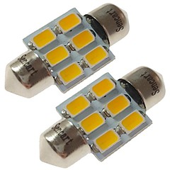 billige Interiørlamper til bil-SENCART 2pcs 31mm Bil Elpærer 3 W SMD 5730 180 lm 6 LED interiør Lights / utvendig Lights Til
