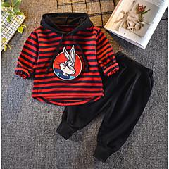 billige Sett med babyklær-Baby Pige Basale Daglig Ensfarvet / Stribet Langærmet Normal Normal Bomuld / Polyester Tøjsæt Sort 100
