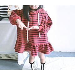 billige Hættetrøjer og sweatshirts til babyer-Baby Pige Basale Daglig Stribet Langærmet Lang Bomuld / Polyester Hættetrøje og sweatshirt Brun 100