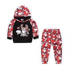 billige Babytøj-Baby Pige Aktiv / Basale Jul / Daglig Sort & Rød Trykt mønster Trykt mønster Langærmet Normal Bomuld / Spandex Tøjsæt Rød