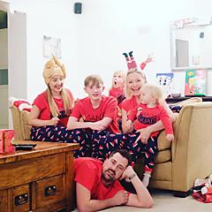 billige Sett med familieklær-Familie Look Grunnleggende Bokstaver Kortermet T-skjorte