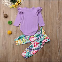 billige Sett med babyklær-Baby Pige Ensfarvet / Geometrisk Langærmet Tøjsæt