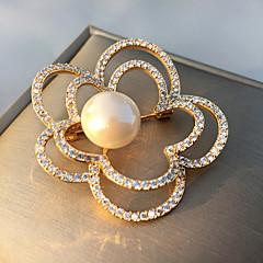 billige Motebrosjer-Dame Kubisk Zirkonium Nåler - Perle, Gullbelagt Blomst Koreansk Brosje Gull Til Gate