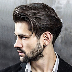 cheap Toupees-Men's Human Hair Toupees Straight 100% Hand Tied Soft