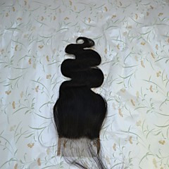 billiga Peruker och hårförlängning-Brasilianskt hår 4x4 Stängning Vågigt Fria delen Middle Part Schweizisk spetsperuk Äkta hår Dam / Flickor Dam / Sexig Lady / Naturlig Bröllopsfest / Semester
