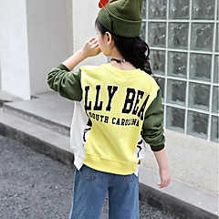 billige Hættetrøjer og sweatshirts til piger-Børn Pige Basale Daglig / Sport Ensfarvet Langærmet Normal Bomuld / Rayon Hættetrøje og sweatshirt Blå