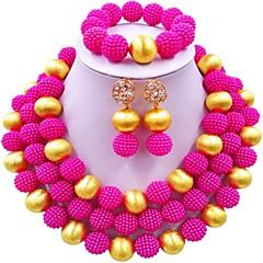 baratos Conjuntos de Bijuteria-Mulheres Camadas Conjunto de jóias - Fashion Incluir Strands Necklace Azul / Rosa claro / Rosa Para Casamento / Brincos