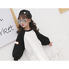 billige Hættetrøjer og sweatshirts til piger-Børn Pige Ensfarvet / Farveblok Langærmet Hættetrøje og sweatshirt
