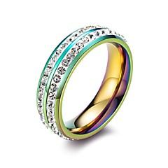 billige Motering-Dame Klar Kubisk Zirkonium Dobbelt Lagdelt Ring Tail Ring - Titanium Stål Koreansk 5 / 6 / 7 / 8 / 9 Gull / Regnbue Til Gave