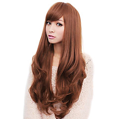 cheap Wigs & Hair Pieces-Synthetic Wig Wavy With Bangs Synthetic Hair Side Part / With Bangs Brown / Gray Wig Women's Long Capless